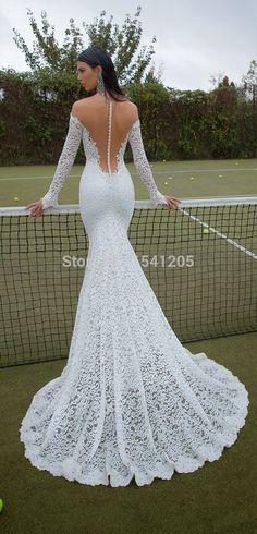Vestidos de novia pegados manga larga