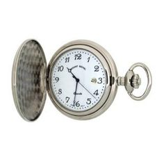 Mount Royal - Polished Chrome Plated Arabic Full Hunter Quartz Pocket Watch - B24 - (WW1704) - 4.4cm diameter x 0.9cm depth Mount Royal. $118.00