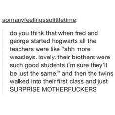 "This realization that Bill and Percy were directly followed by Fred and George. | 21 Posts That Prove ""Harry Potter"" And Tumblr Are A Magical Combination"