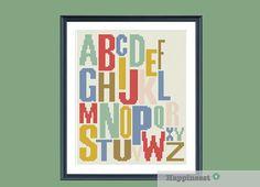 modern cross stitch pattern alphabet ABC PDF by Happinesst