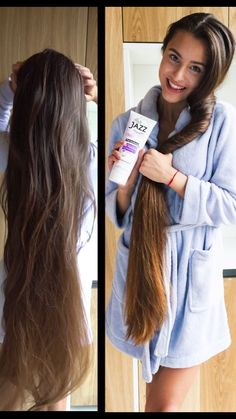 Hair Beauty - Vitamin bomb for the hair! 💥 Clinically proven ingredients speed hair growth ✔, repair damaged hair ✔ and give hair body and shine ✔ Tr Hair Growing Tips, Grow Hair, Grow Long Hair, Fast Hairstyles, Braided Hairstyles, Hair Jazz, Curly Hair Styles, Natural Hair Styles, Natural Beauty