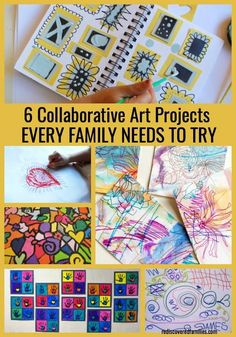 Want to do something fun with your kids? Here's six collaborative art projects for you to enjoy together. It's time to get creative! | Art for Kids | Kids Activities | Preschool |