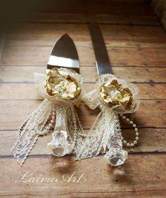 Gold Ivory Wedding Cake Server Set Knife
