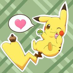 Pikachu eating Pokepuffs ;3