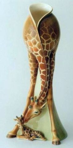 Giraffe Design Sculptured Porcelain Flower Vase by Franz Collection,