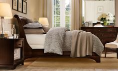 sleigh bed. check. cozy room. check. ok who's up for going out to pick the fresh hydrangeas for the dresser each day?
