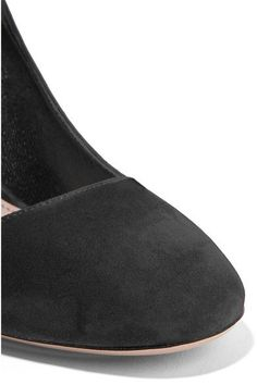 Miu Miu - Feather-trimmed Embellished Suede Mary Jane Pumps - Black - IT37.5