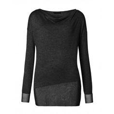 Maglia maniche lunghe, in misto lana, con rimesso in lurex e bordo asimmetrico, applicazione catenella in lurex sul collo.14ECM1141 BLACK