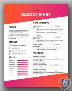 If you are looking for an eye popping piece of document to impress the hiring managers and recruiters. that's what this Bloody Mary CV is all about. Cv Design, Resume Design, Cv Template, Resume Templates, Curriculum Vitae Resume, Job Title, Describe Yourself, Bloody Mary, Writing Skills