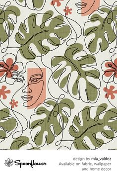 Customize your own home decor, #wallpaper and #fabric at Spoonflower. Shop your favorite indie designs on #fabric, #wallpaper and home decor products on Spoonflower, all printed with #eco-friendly inks and handmade in the United States. #patterndesign #textiledesign #pattern #digitalprinting #homedecor #monstera #faces #lines #art Textile Design, Floral Design, Hawaiian Girls, All Print, Own Home, Watercolor Flowers, Diy Wedding, Digital Prints, Pattern Design