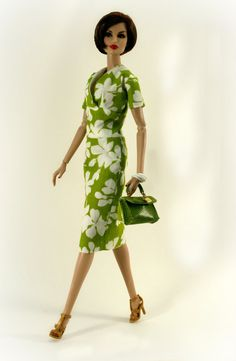 Green and White Floral Dress for Barbie Silkstone Fashion Royalty ...
