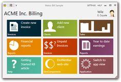 DotNetBar for WPF Metro-Bill Sample Application
