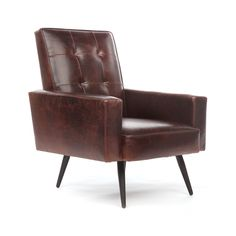 At the end of a long day, retreat to the parlor and relax in the Gentleman's Agreement Chair. The generous proportions of this sumptuous leather chair are made for unwinding. Splayed wood legs add an i...  Find the Gentleman's Agreement Chair, as seen in the Top Secret Collection at http://dotandbo.com/collections/top-secret?utm_source=pinterest&utm_medium=organic&db_sku=102275