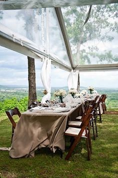 mountain top wedding- this tent is amazing! see through so the guests could see the sky :)