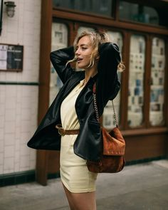 Wearing an Isabel Marant dress with vintage leather jacket and Longchamp bag. Minimal Outfit, Minimal Fashion, Vintage Leather Jacket, Isabel Marant, Minimalism, How To Wear, Jackets, Bags, Outfits
