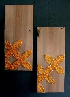 Modern String Art Wooden Tablet - Set of 2 - Yellow Circular Geometric on Distressed Grey