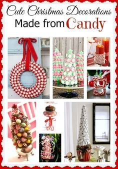 Clever Christmas decorations made from candy. This is a great activity to do with the kids too!  Christmas crafts, Handmade Christmas, DIY Christmas projects