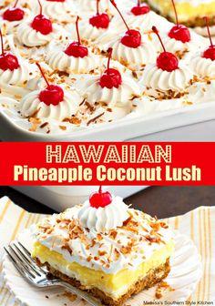 This island inspired Hawaiian Pineapple Coconut Lush is a celebration of the flavor combination of pineapple, coconut, macadamia nuts and all things creamy. Hawaiian Desserts, Layered Desserts, Köstliche Desserts, Summer Desserts, Delicious Desserts, Hawaiian Pie, Hawaiian Food Recipes, Awesome Desserts, Summer Treats
