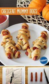 Crescent Mummy Dogs Kids aren't the only ones to dress up this Halloween! Wrap up some mummy dogs with Pillsbury crescent rolls. Ketchup and mustard eyes are the finishing touch to this kid-favorite Halloween dinner. You could even make these treats for a Plat Halloween, Dulces Halloween, Soirée Halloween, What Is Halloween, Halloween Dinner, Halloween Appetizers, Halloween Food For Party, Halloween Desserts, Holidays Halloween
