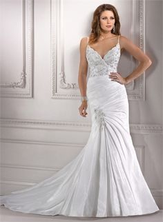 Spaghetti Straps Deep V-neck Beaded and Lace Appliqued Wedding Dress WD1862 www.tidedresses.co.uk $299.0000