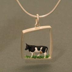 "Pendants – ""Cow"" Large Silver Pendant – a unique product by schmucker_schmuck on DaWanda"