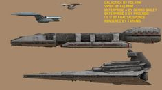 Size Comparison of Battlestar Galactica to the U. Enterprise (Star Trek TOS), the U. Enterprise (Star Trek TNG), & an Imperial Star Destroyer (Star Wars ) (sideview). Star Wars Spaceships, Sci Fi Spaceships, Star Trek Starships, Star Trek Enterprise, Kampfstern Galactica, Battlestar Galactica 1978, Nave Star Wars, Doctor Who Art, Sci Fi Models