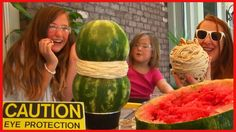 Girls do the watermelon and rubber band experiment. They see how many rubber bands it takes to make a watermelon explode. See their reactions to the rubber b...