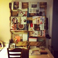 Pallet turned magazine rack with cork board