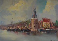 Jan Kelderman (1914-1990), Amsterdam, zicht op Montelbaanstoren
