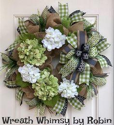 Burlap Mesh All Season Hydrangea Wreath in Moss Green Cream Burlap Mesh All Season Hydrangea Wreath in Moss Green Cream & Easy Burlap Wreath, Burlap Wreath Tutorial, Wreath Crafts, Diy Wreath, Fall Burlap Wreaths For Front Door, Burlap Crafts, Diy Crafts, Summer Door Decorations, Gold Christmas Decorations