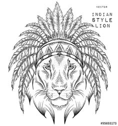 "Download the royalty-free vector ""Lion in the Indian roach. Indian feather headdress of eagle. Hand draw vector illustration"" designed by mountain_inside at the lowest price on Fotolia.com. Browse our cheap image bank online to find the perfect stock vector for your marketing projects!"