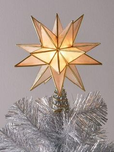 The 20-Point Capiz Shell Christmas Tree Topper adds a 3D touch to any tree. Lights within its center cast a warm glow on your Christmas tree. Recommended for indoor use only.