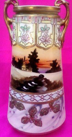 Nippon Vase Art Nouveau Scenic Sunset Scene Swans Pond Art Deco 12 inches High