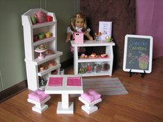 """Cafe Side Table with Cushioned Bar Stools and Placemats - Sweet Shop Cafe / Bakery Set for American Girl or other similar 18"""" dolls"""