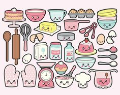 Premium Vector Clipart Kawaii Baking by LookLookPrettyPaper Kawaii Stickers, Cute Stickers, Kawaii Drawings, Easy Drawings, Chalk Drawings, Cartoon Drawings, Planner Stickers, Griffonnages Kawaii, Kawaii Disney