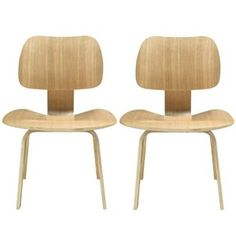 LexMod Fathom Plywood Dining Chair Set in Natural