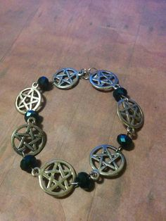 Antique Silver Pentagram - blue swarovski bracelet ~ gothic - pagan - supernatural - charm bracelet - jewelry - gift - jewellery - beads by Blackrose37 on Etsy