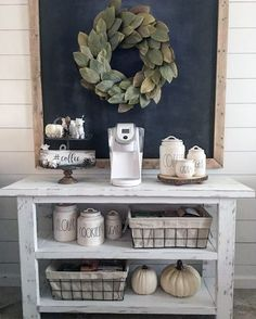 The best ways to build your own Coffee Counter at the office, these ideas will Give you inspiration Farmhouse Kitchen Canisters, Kitchen Island Decor, Kitchen Canister Sets, Farmhouse Style Kitchen, Rustic Kitchen, Kitchen Storage, Farmhouse Decor, Kitchen Ideas, Farmhouse Furniture