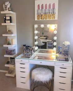 Vanity Decor - Impressions Vanity Co.mx amazing glam space featuring out Glow XL Mirror and Plus Tabletop 💫Link in bio to shop - Preteen Girls Rooms, Bedroom Decor For Teen Girls, Room Ideas Bedroom, Teen Room Decor, Diy Bedroom Decor, Home Decor, Room Decor Bedroom Rose Gold, Bedroom Mirrors, Mirror Room