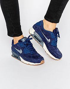 0a9a59043eed2 Nike Midnight Navy Air Max 90 PRM Suede Trainers Chaussures Compensées,  Bottes, Talons,