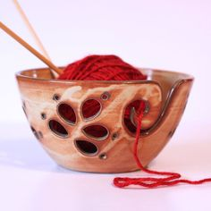 Craved Ceramic Yarn Bowl / Yarn Bowl / Knitting Bowl / Crochet Bowl / Fall Creek Shino Yarn Bowl / In Stock - Ready to Ship