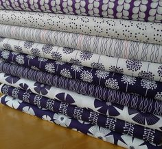 NEW Stof Fabrics PURE  Floral Navy White  1/2 by TactileFabrics, $4.95
