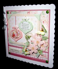 SHABBY CHIC BAUBLES 8x8 Christmas Mini Kit Decoupage on Craftsuprint designed by Janet Briggs - made by Dianne Jackson