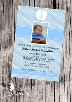 Personalised Boys Christening invitation $1.00 each printed, laminated, magnet & enveloped or digital file available for purchase. Christening Invitations Boy, Boy Christening, Vinyl Designs, Rsvp, Printed, Digital, Boys, Baby Boys, Kids