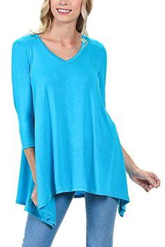 cfd6b276539 Shamaim Womens 34 Sleeve Comfy Loose Fit Long Tunic Top T Shirts Scuba Blue  Large *