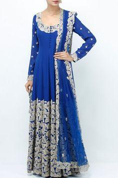 Suits, Clothing, Carma, Cobalt Blue Dori Work Anarkali And Dupatta