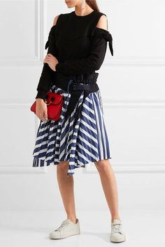 Sacai - Cole Asymmetric Pleated Striped Cotton Skirt - Navy