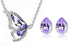 18k White GP Necklace and Stud Earring Set Bridal Jewellery Austrian Crystal