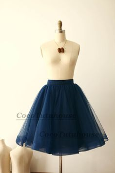 Navy Blue Tulle Skirt/Horse Hair Tulle by CocoTutuhouse on Etsy