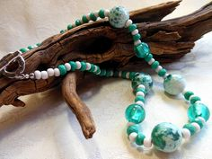 Turquoise and white necklace, turquoise and white crackled agate, foiled lampwork beads, turquoise magnesite, white ceramic beads, silver by #EyeCandybyCathy on Etsy